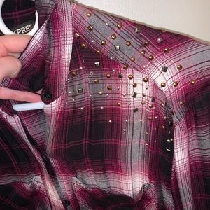 Express studded plaid shirt